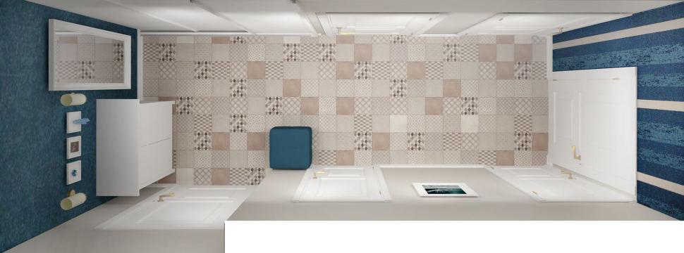 Проект прихожей 7 кв.м в древесных и белых оттенках, настенные светильники, синий пуф, белый комод, настенные светильники