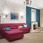Визуализация гостиной 21 кв.м в нежных оттенках с синими акцентами, бордовый диван, зеркало, стол, торшер, декор, обои