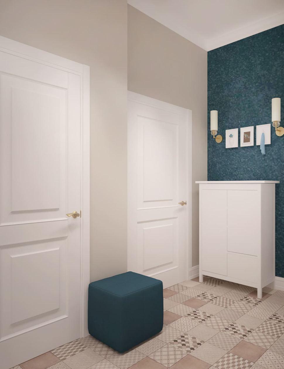 Визуализация прихожей 7 кв.м в медных оттенках, плитка с геометрическим узором, пуф, белый комод, настенные светильники