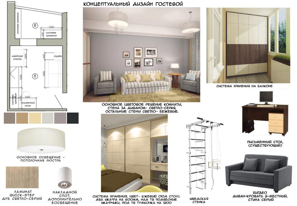 Концептуальный коллаж гостевой, диван, стол, шведская стенка, телевизор, люстра, ламинат