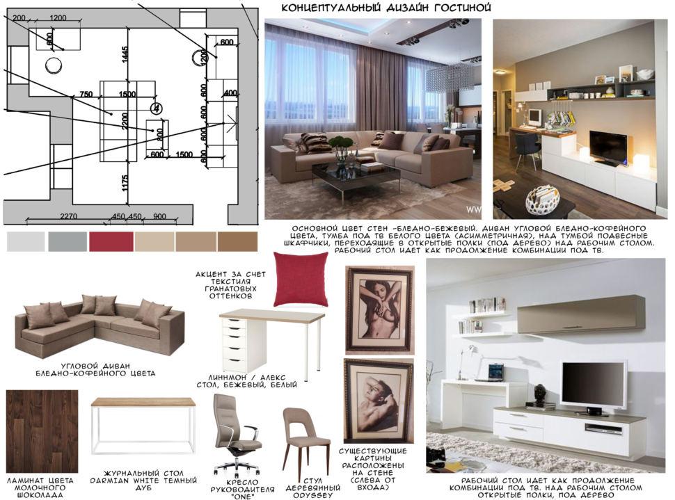 Концептуальный дизайн гостиной 24 кв.м, бежевый угловой диван, ламинат, офисное кресло, стол, белая тумба под ТВ