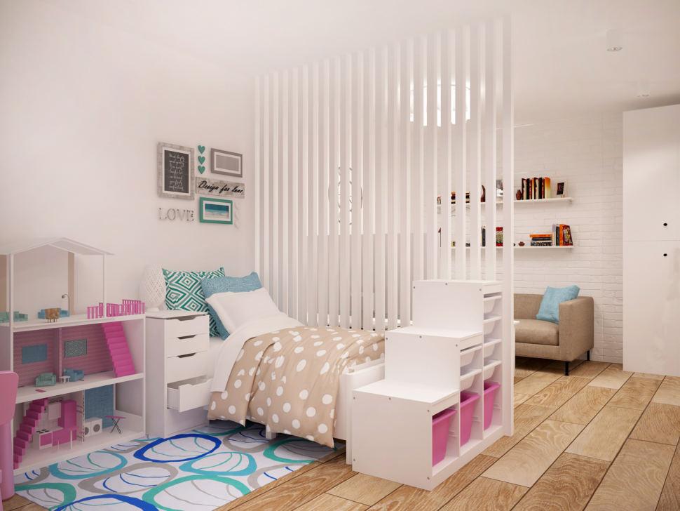 Визуализация гостиной 20 кв.м в светлых оттенках с акцентами, кровать, белый стеллаж, диван, белая перегородка