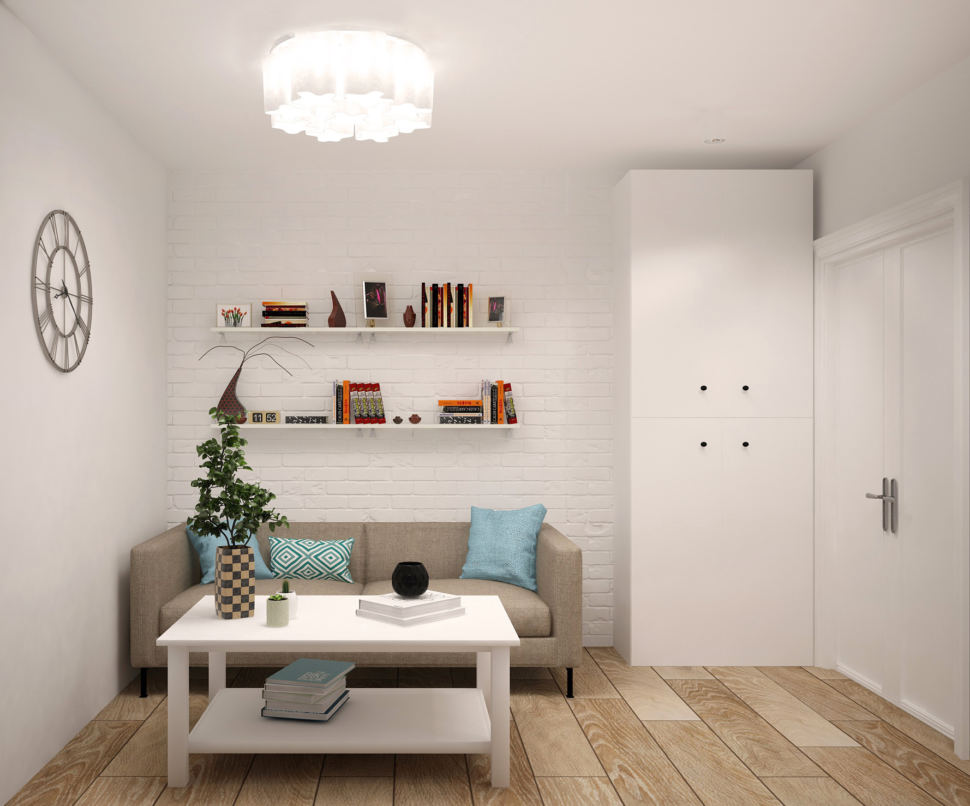 Интерьер гостиной 20 кв.м в светлых оттенках с акцентами, серый диван, журнальный столик, белые подвесные полки, декор