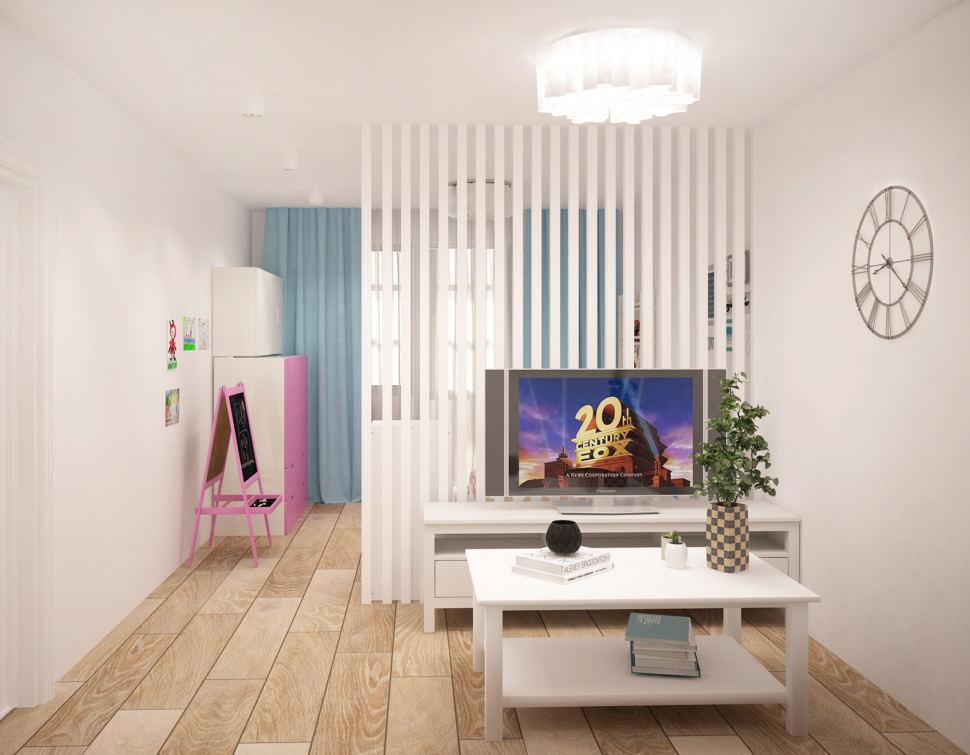 Проект гостиной 20 кв.м в светлых оттенках с акцентами, перегородка, белый журнальный столик, тумба под ТВ, телевизор