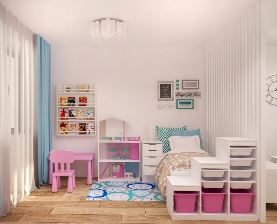 Интерьер гостиной 20 кв.м в светлых оттенках с акцентами, белая перегородка, детская кровать, домик, стеллаж для игрушек, полки
