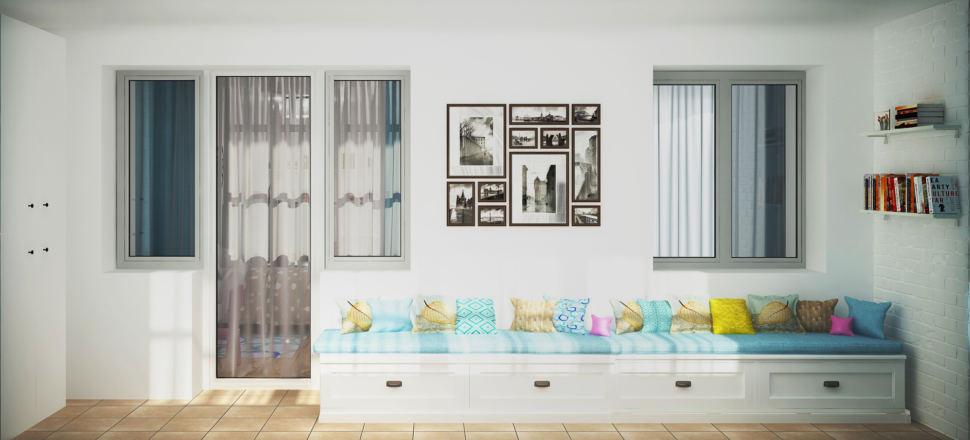 Проект лоджии 8 кв.м в бирюзовых тонах, открытые полки, скамья с местом для хранения, декор, подушки