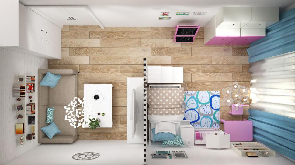 Визуализация гостиной 20 кв.м в светлых оттенках с акцентами, перегородка, диван, шкаф, полки, журнальный столик, кровать