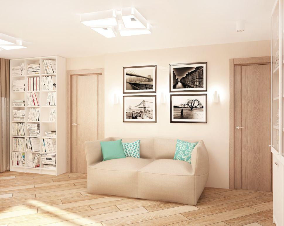 Дизайн кухни-гостиной 23 кв.м в бежевых тонах с бирюзовыми акцентами, бескаркасная мебель, стеллаж, шкаф, пвх плитка, декор