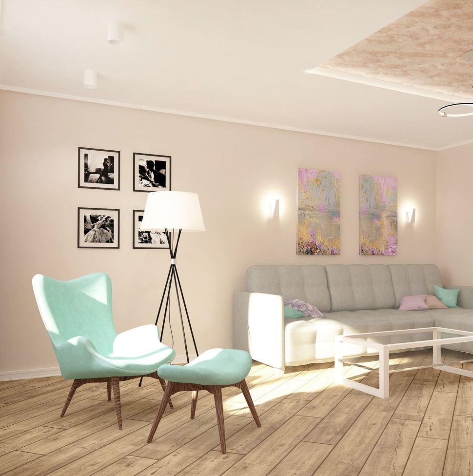 Дизайн-проект гостиной 20 кв.м в нежных тонах с акцентами, декоративная штукатурка, кресло, диван, торшер, люстра, журнальный столик
