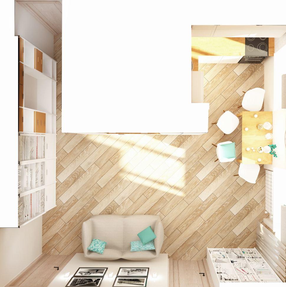 Визуализация кухни-гостиной 23 кв.м в бежевых тонах с бирюзовыми акцентами, бескаркасная мебель, стеллаж, шкаф, пвх плитка, телевизор