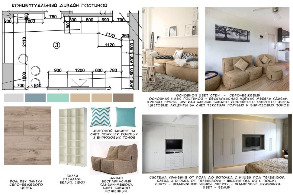 Концептуальный коллаж гостиной 23 кв.м, пвх - плитка, бескаркасная мебель, стеллаж, шкаф, пуф, телевизор
