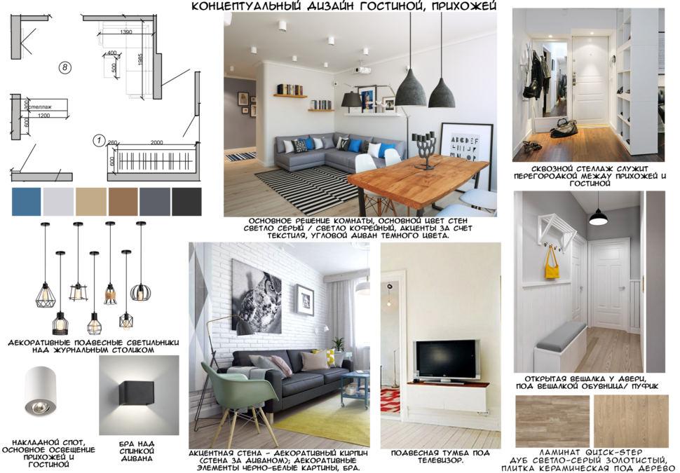 Концептуальный коллаж гостиной, прихожей, подвесные светильники, кирпич, диван, телевизор, открытая вешалка, тумба под ТВ, стеллаж