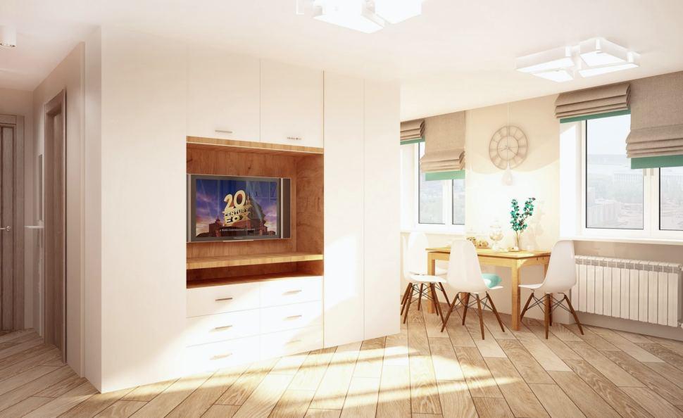 Проект кухни-гостиной 23 кв.м в бежевых тонах с бирюзовыми акцентами, римские шторы, белый шкаф, пвх плитка, обеденный стол