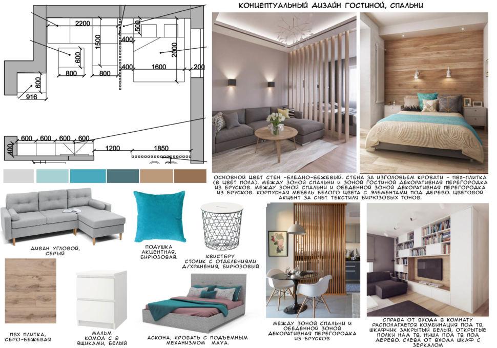 Концептуальный коллаж спальни 22 кв.м в песочных тонах с бирюзовыми оттенками, диван, кровать, перегородка, шкаф, тумба, кресло