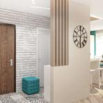 Дизайн-проект прихожей 12 кв.м в бирюзовых и серых тонах, бирюзовый пуф, геометрическая плитка, светильники
