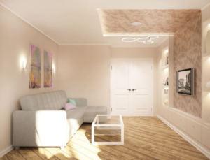 Интерьер гостиной 20 кв.м в черных и серах тонах, серый угловой диван, люстра, телевизор, белый журнальный столик