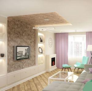 Визуализация гостиной 20 кв.м в древесных тонах, телевизор, белый шкаф, бирюзовое кресло, пуф, светильники