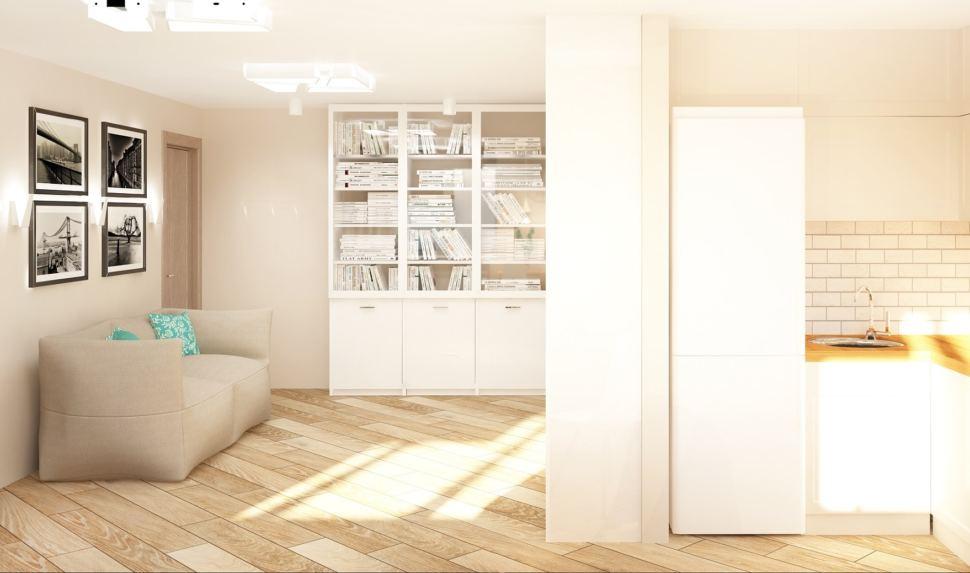 Визуализация кухни-гостиной 23 кв.м в бежевых тонах с бирюзовыми акцентами, бескаркасная мебель, стеллаж, шкаф, пвх плитка