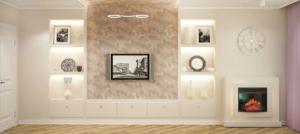 Дизайн-проект гостиной 20 кв.м в бежевых и лавандовых тонах, белые полки, тумба, телевизор, камин