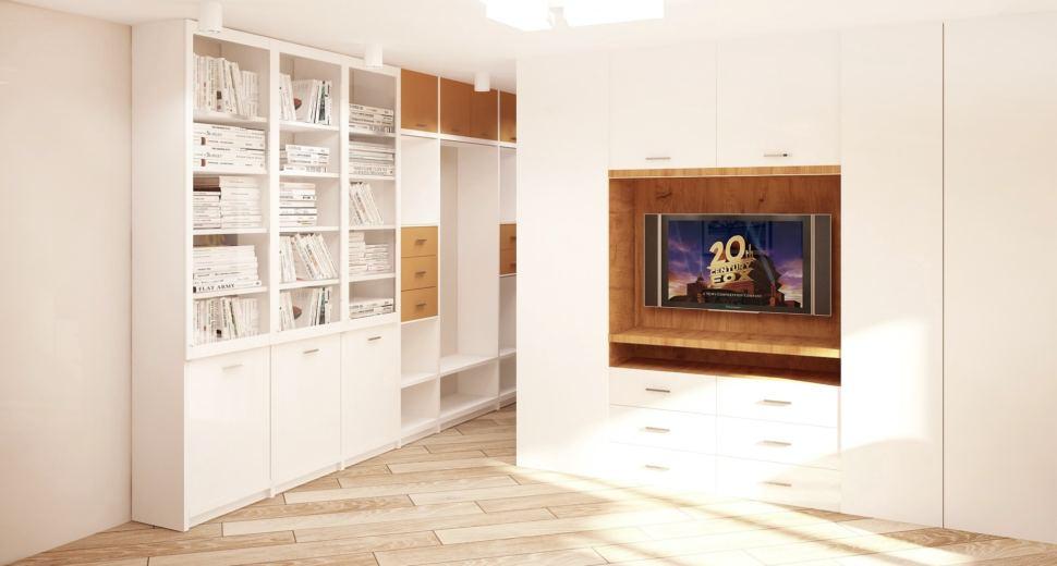 Проект кухни-гостиной 23 кв.м в бежевых тонах с бирюзовыми акцентами, пвх плитка, бежевый диван, белый стеллаж, стул, портьеры