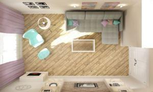 Интерьер гостиной 20 кв.м в черных и серах тонах, угловой диван, кресло, камин, журнальный столик