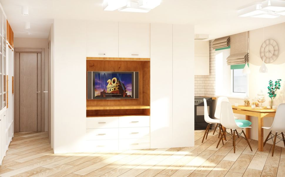 Дизайн кухни-гостиной 23 кв.м в светлых тонах с бирюзовыми акцентами, обеденный стол, стулья, кухонный гарнитур, декор