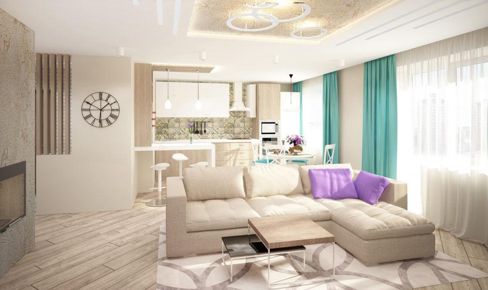 Визуализация гостиной 20 кв.м в лавандовых и белых тонах, бирюзовое кресло, полка под ТВ, бежевый диван