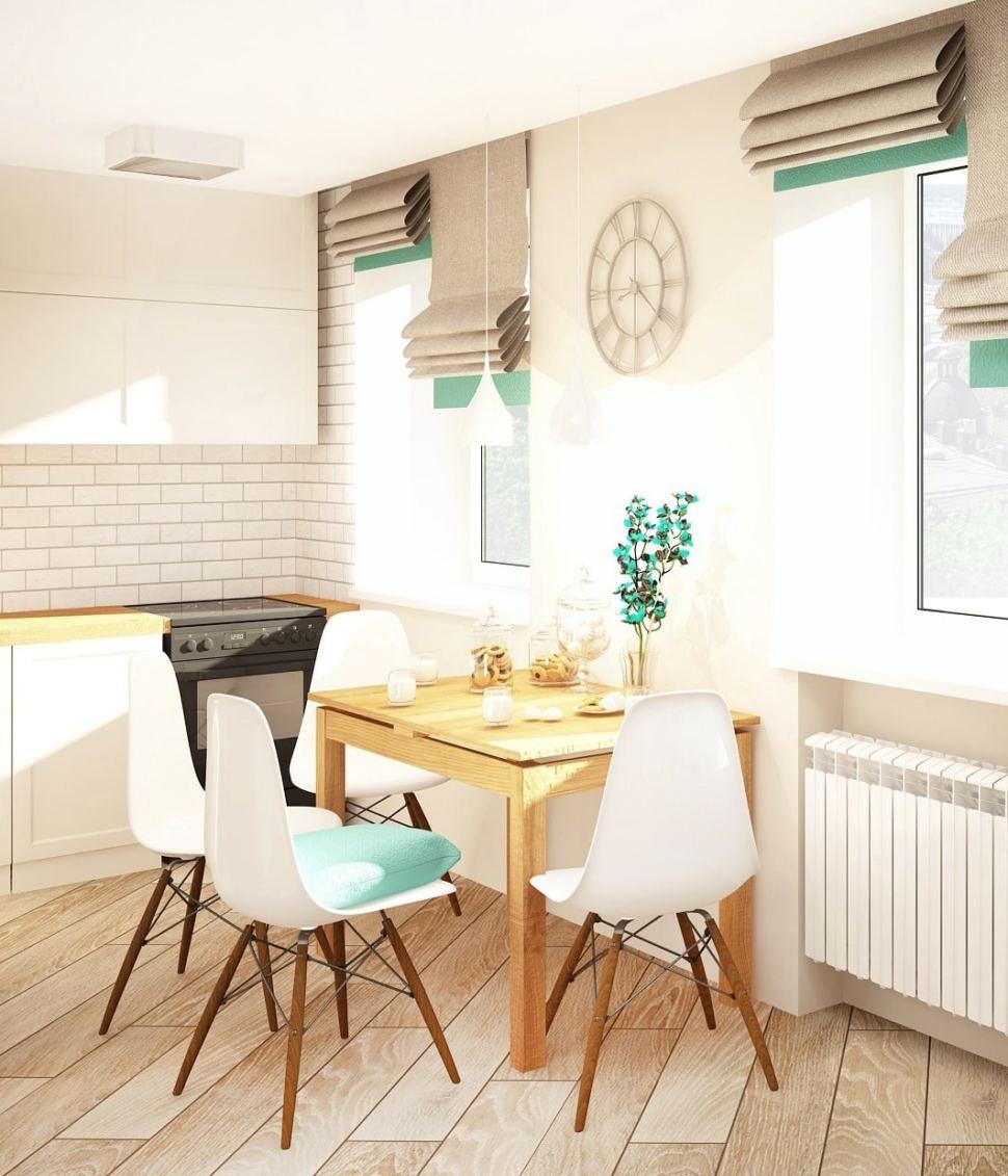 Дизайн кухни-гостиной 23 кв.м в светлых тонах с бирюзовыми акцентами, кухонный гарнитур, декор, обеденный стол, стулья