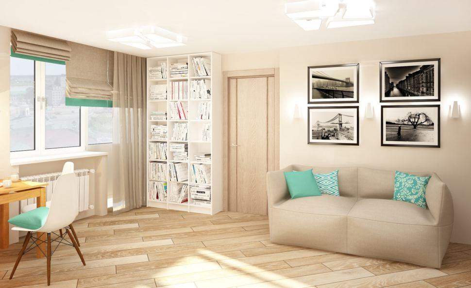 Интерьер кухни-гостиной 23 кв.м в бежевых тонах с бирюзовыми акцентами, серый диван, обеденные стулья, белый шкаф, телевизор