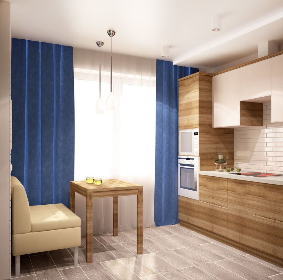Интерьер кухни 9 кв.м в светлых тонах с яркими акцентами, портьеры, стол, диван, светильник, духовой шкаф