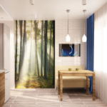 Визуализация кухни 9 кв.м в светлых тонах с яркими акцентами, обеденный стол, бежевый диван, подвесные светильники, фотообои