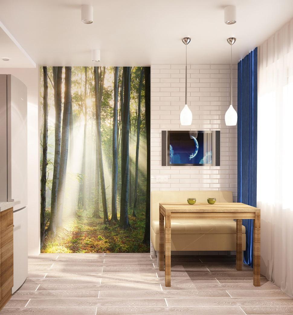 Визуализация кухни 9 кв.м в светлых тонах с акцентами, обеденный стол, диван, подвесные светильники, фотообои