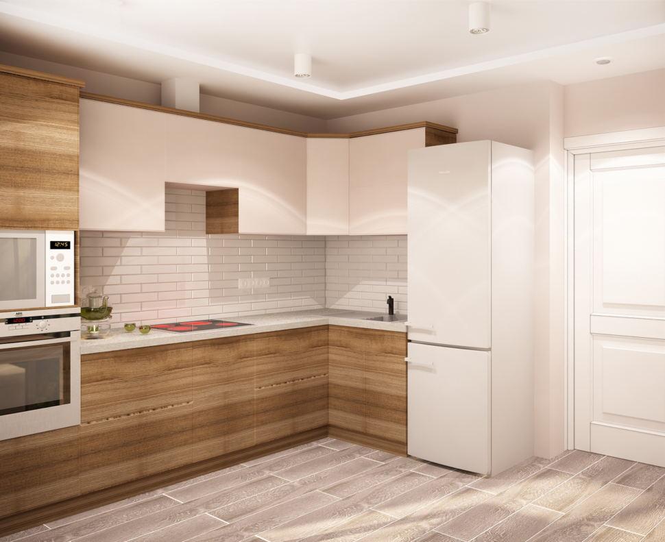 Дизайн-проект кухни 9 кв.м в теплых тонах, белый кухонный гарнитур, холодильник, накладные светильники, духовой шкаф