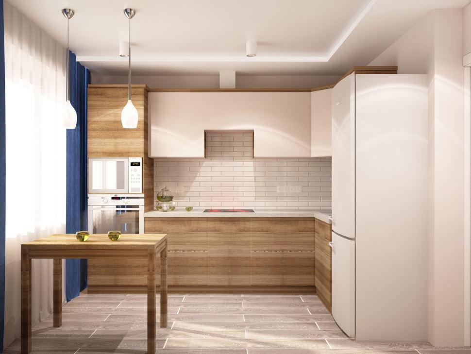 Интерьер кухни 9 кв.м в светлых тонах с яркими акцентами, кухонный гарнитур, обеденный стол, диван, подвесной светильник, холодильник, плитка
