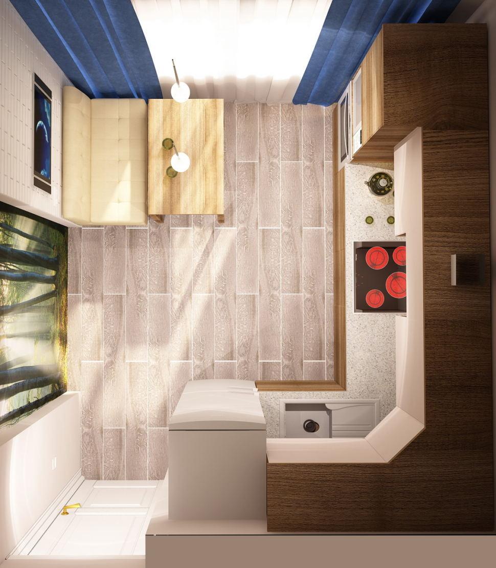 Визуализация кухни 9 кв.м в светлых тонах с яркими акцентами, кухонный гарнитур, стол, диван, подвесной светильник, фотопанно