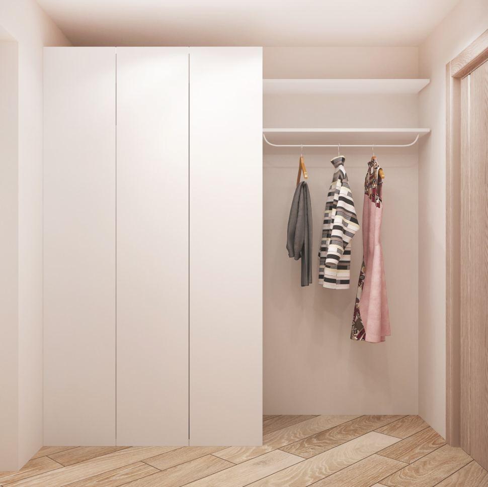 Проект кабинета 5 кв.м в светлых тонах, белый шкаф, открытая вешалка, пвх плитка, потолочные светильники