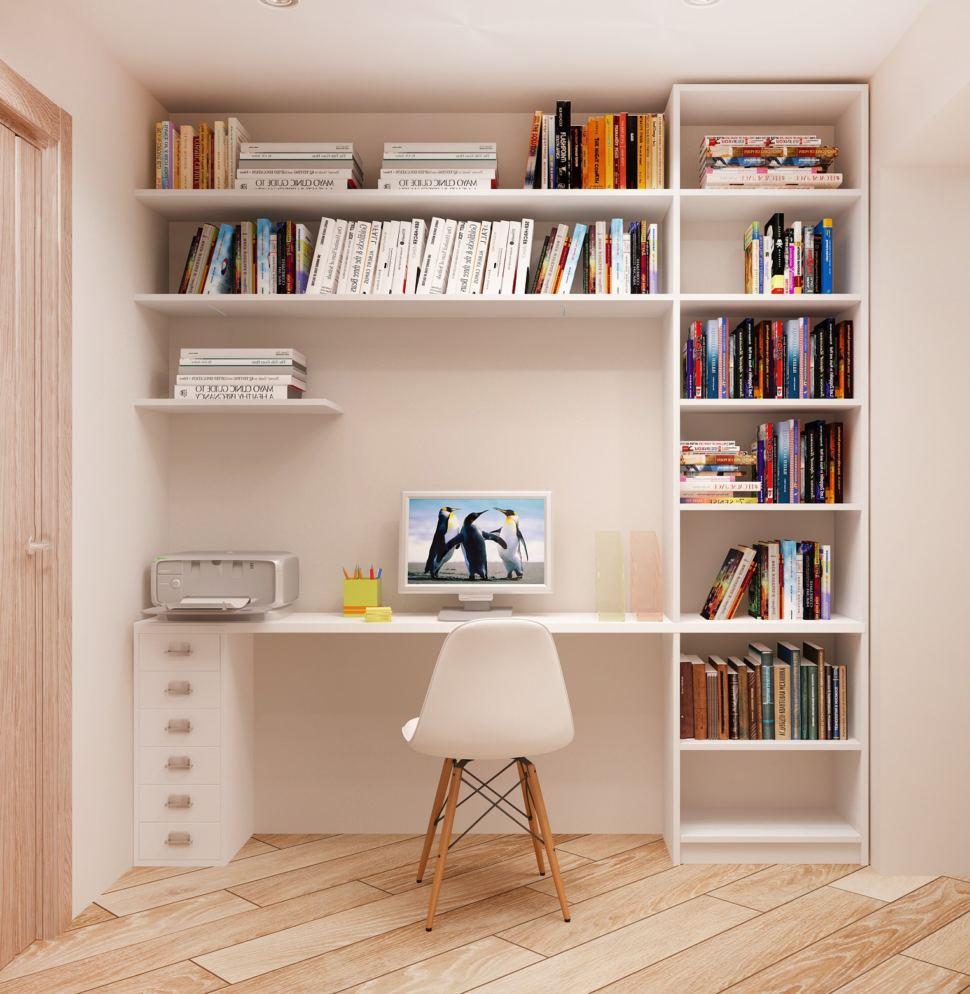 Дизайн-проект кабинета 5 кв.м в светлых тонах, белый рабочий стол, стул, открытые полки, светильники, паркет