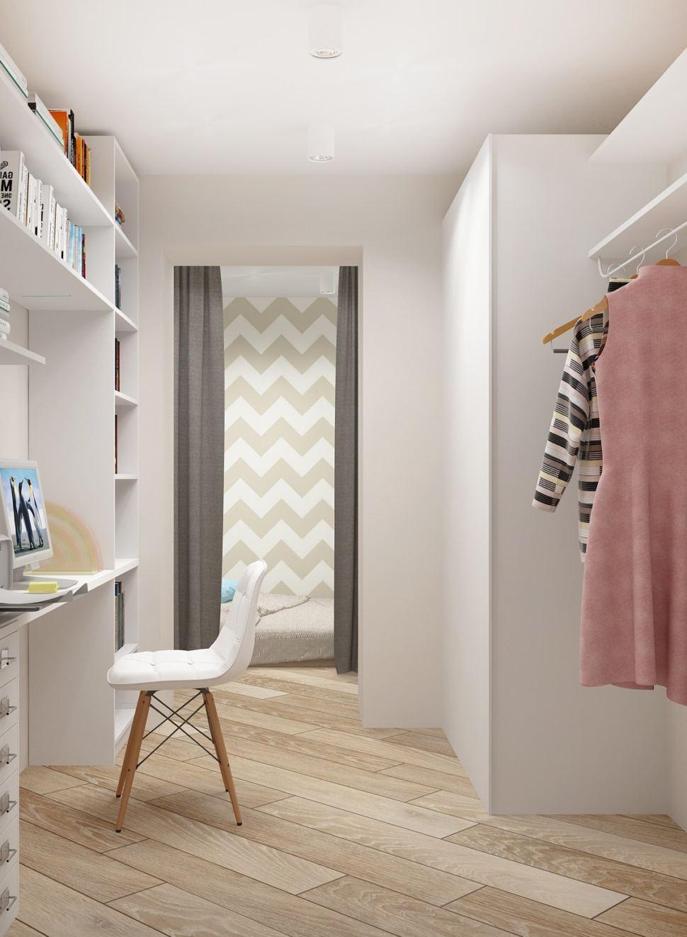 Интерьер кабинета 5 кв.м в светлых тонах, шкаф, открытая вешалка, стул, рабочее место, полки, пвх плитка, штора