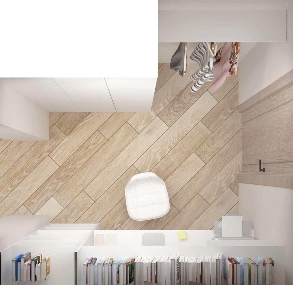 Визуализация кабинета 5 кв.м в светлых тонах, шкаф, открытая вешалка, стул, рабочее место, полки, пвх плитка