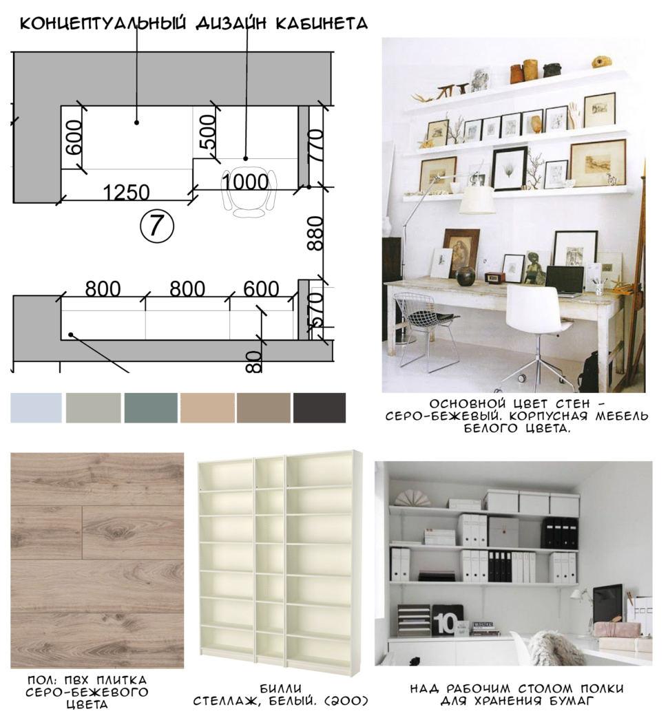Концептуальный коллаж кабинета 5 кв.м, рабочий стол, белый стеллаж, пвх плитка