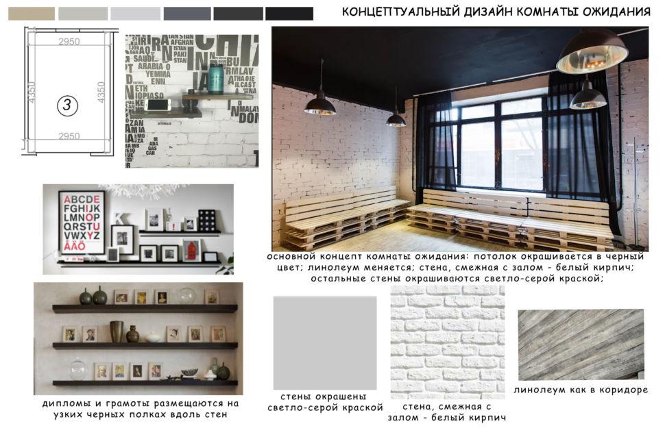 Концептуальный коллаж комнаты отдыха 13 кв.м, крашеный кирпич, открытые полки, скамья, подвесные люстры, черный потолок, лофт