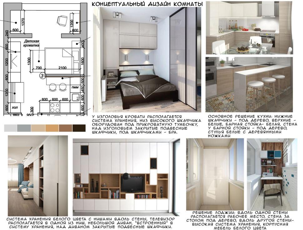 Концептуальный дизайн спальни 19 кв.м, белый шкаф, барная стойка, телевизор, рабочий стол, кровать