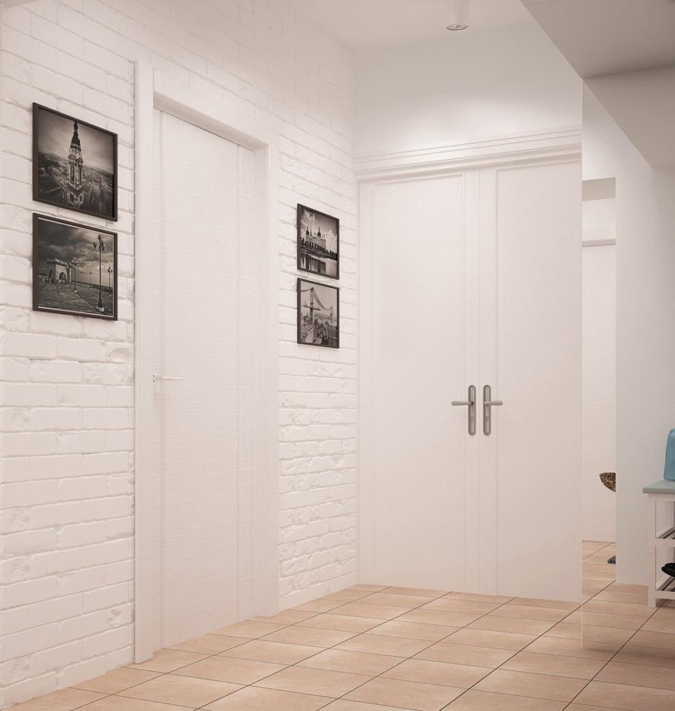 Проект прихожей и коридора 9 кв.м в теплых оттенках, керамический гранит, декор, межкомнатные двери, белые накладные светильники