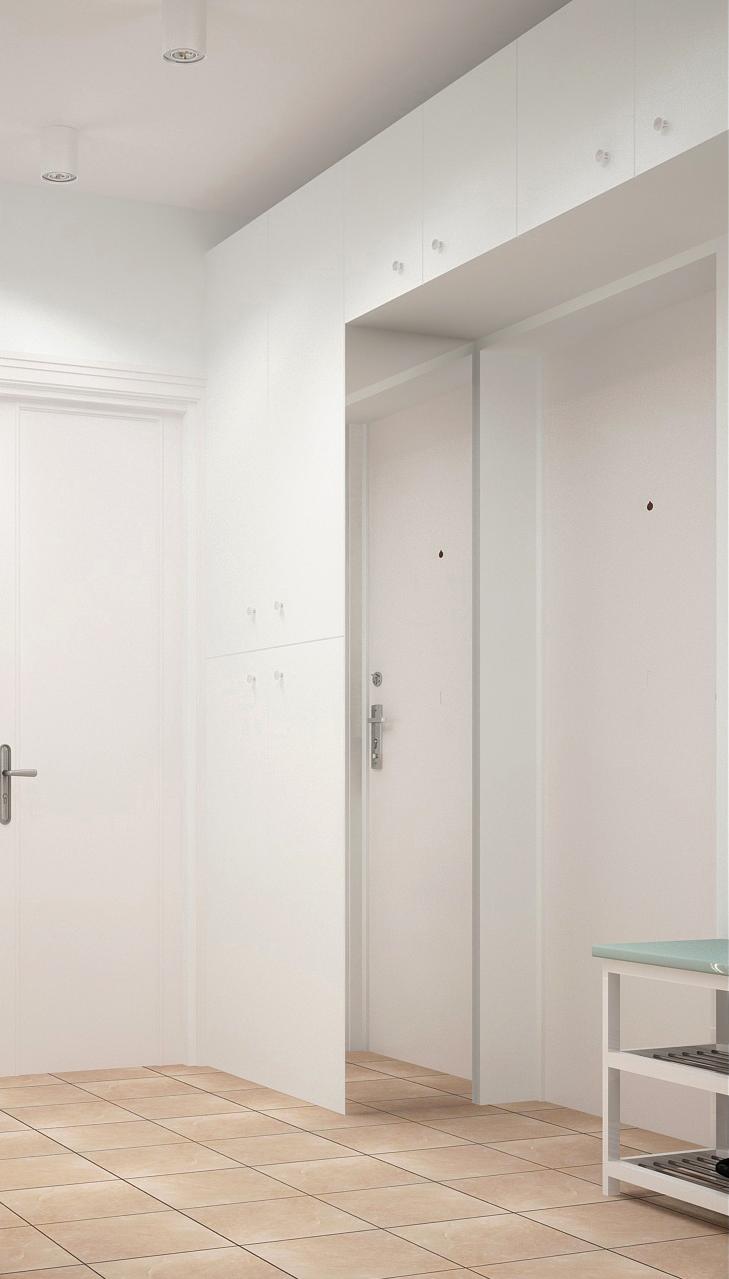 Дизайн-проект прихожей и коридора 9 кв.м в теплых оттенках, белый шкаф, накладные светильники, банкетка, плитка
