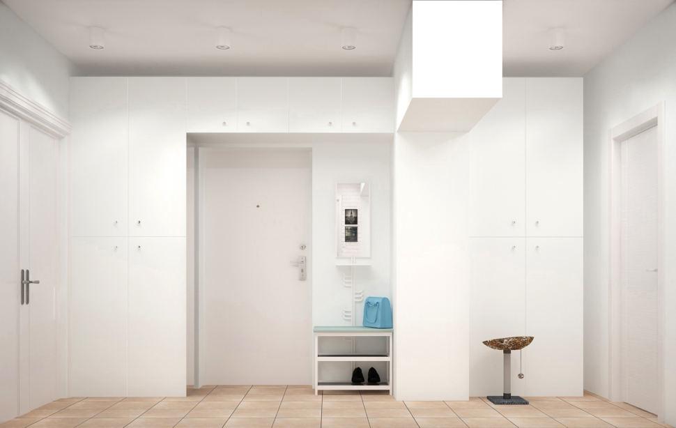 Визуализация прихожей и коридора 9 кв.м в теплых оттенках, белая банкетка, подвесные светильники, керамический гранит