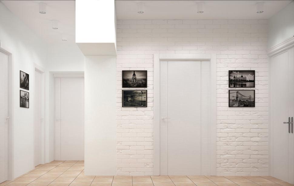 Интерьер прихожей 9 кв.м и коридора в теплых оттенках, керамический гранит, декор, межкомнатные двери, кирпич, балка
