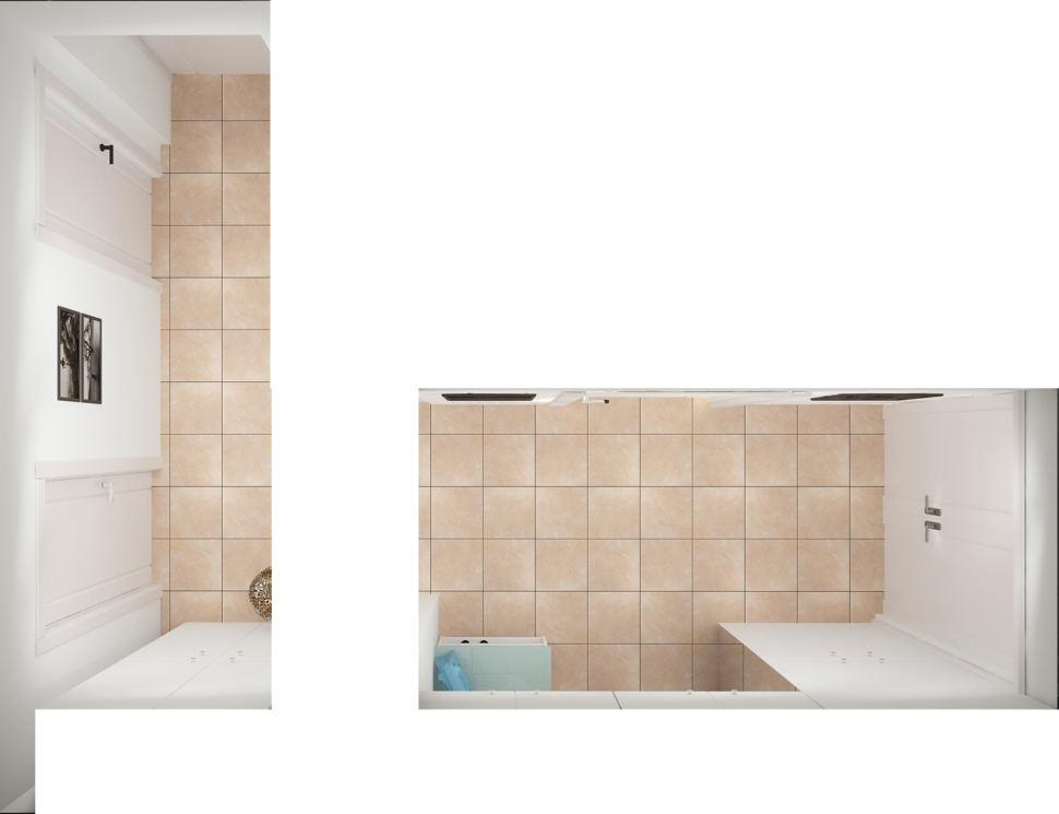 Визуализация прихожей и коридора 9 кв.м в теплых оттенках, керамический гранит, декор, межкомнатные двери, банкетка, декор