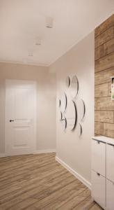 Визуализация прихожей-коридора 14 кв.м в древесных тонах, накладные светильньки, бежевая пвх плитка, галошница