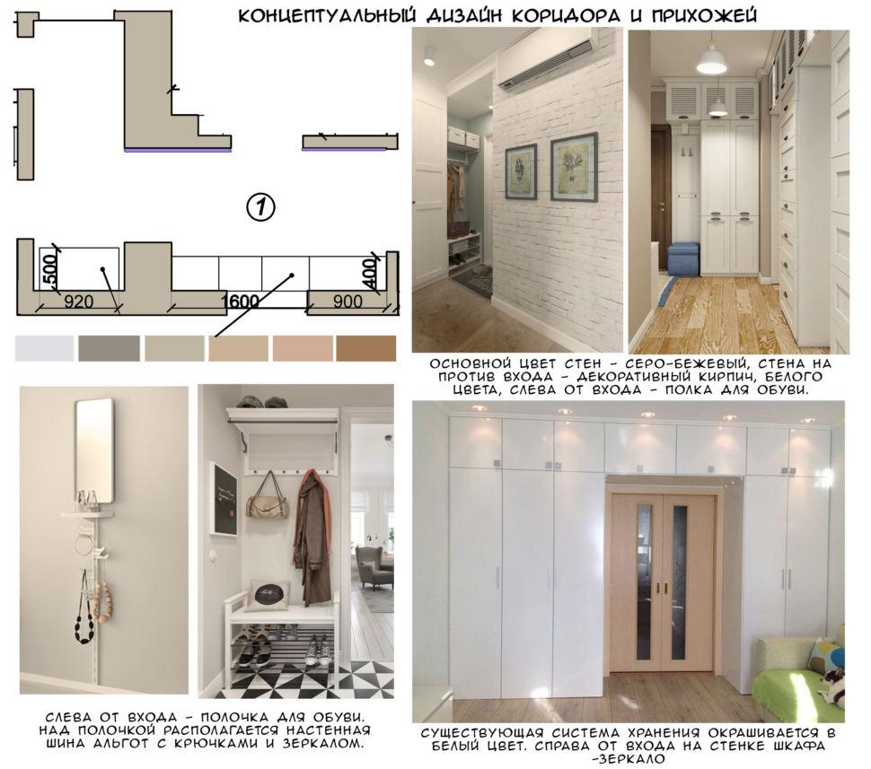 Концептуальный коллаж прихожей 9 кв.м, пвх плитка, зеркало, открытая вешалка, шкаф