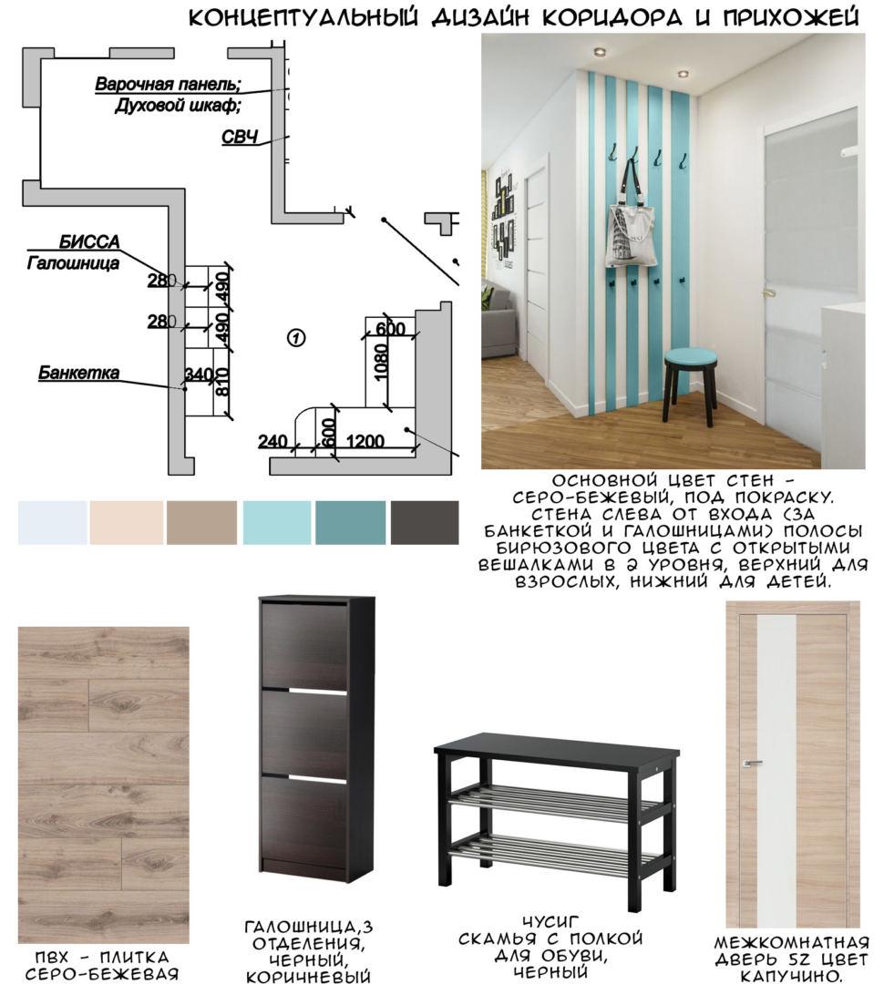 Концептуальный дизайн прихожей 13 кв.м, акцентная корпусная мебель, зеркало, открытые вешалки. галошница